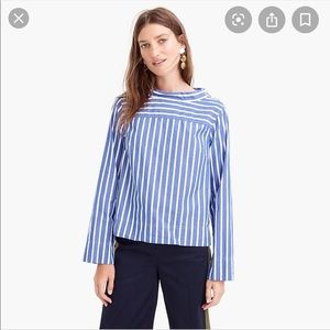 J Crew Funnel Neck Blue White Classic Lux Striped
